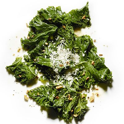 Braised kale, spiked with garlic and pepper -- what could be healthier?