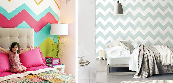 Paredes chevron en el dormitorio - http://www.decoora.com/paredes-chevron-en-el-dormitorio.html