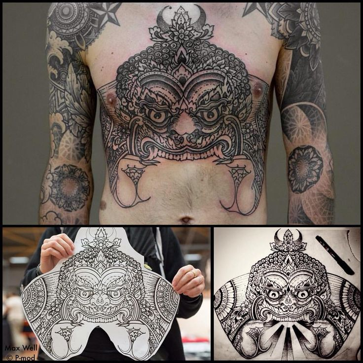 First session of a full front in progress, 7 hours done at Nantes Tattoo Convention :) Merci Flavien qui dort quand on lui cartonne le chest !!  Hâte de continuer  Et merci Dom pour les photos ...
