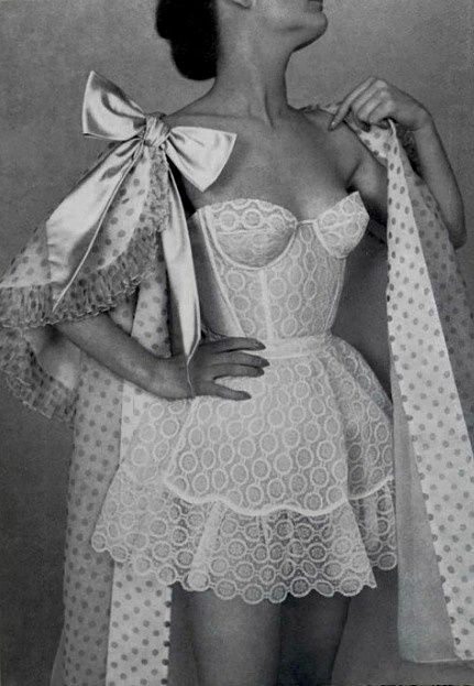 1956 Jacques Fath Need more great ideas to plan your wedding? www.destinationweddingcollective.com - lingerie, leather, valentines day, latex, black, teddy lingerie *ad