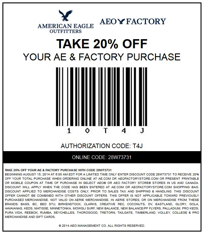 Pinned August 15th: 20% off at American #Eagle Outfitters & factory locations, or online via promo code 28W73731 #coupon via The #Coupons App