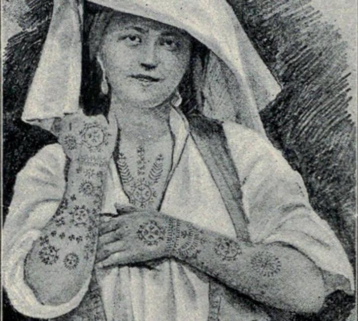 "Bosniak-Catholic woman with tattoos as ancient tradition among young ""Kristjani"" girls of Kraljeva Sutjeska in Bosnia"