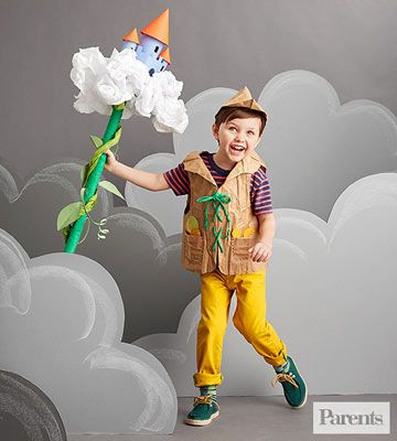 A paper-bag vest and a jaunty cap transform your little ruffian into Jack with his Beanstalk.