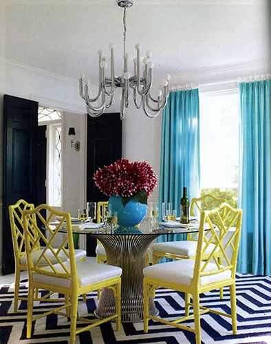 Jonathan Adler :: Interior DesignDining Rooms, Colors Combos, Black And White, Diningroom, Colors Schemes, Rugs, Yellow Chairs, Jonathan Adler, Bright Colors