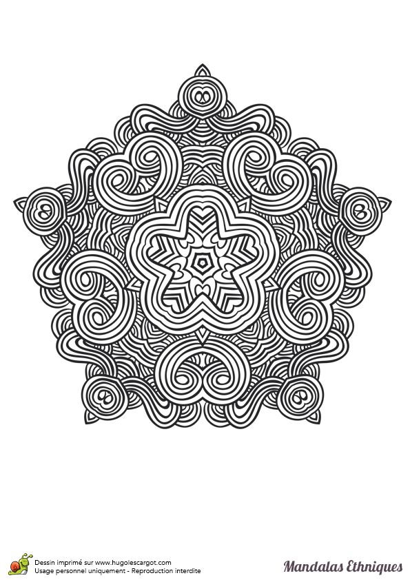 Coloriage mandala ethnique hexagone et courbes coloring mandala - Hugolescargot mandala ...
