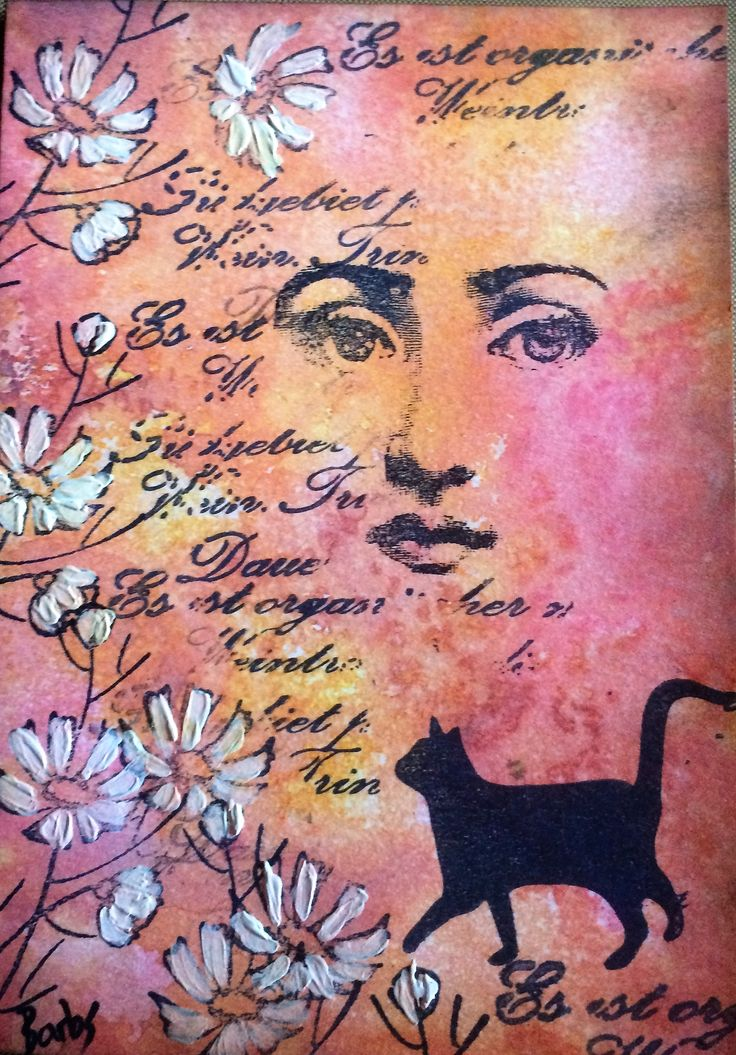 Barbs Mey The Craftroom Stamped images on oxide ink background with acrylic paint accents