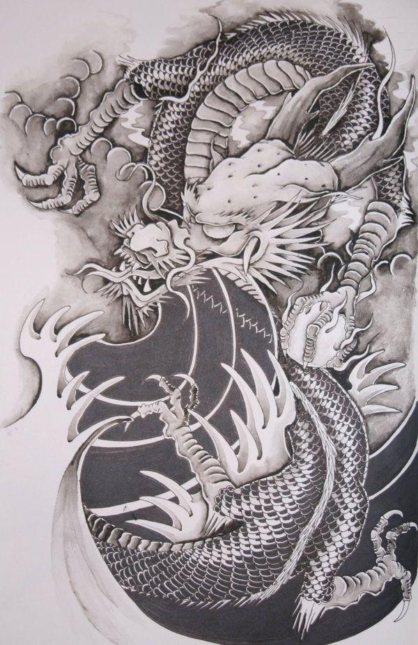 Dessin tatouage dragon chinois
