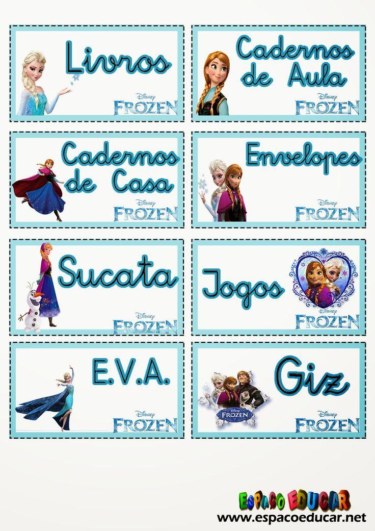 Etiquetas lindas com o tema Frozen, uma aventura Congelante, para você imprimir e organizar a sala de aula! - ESPAÇO EDUCAR