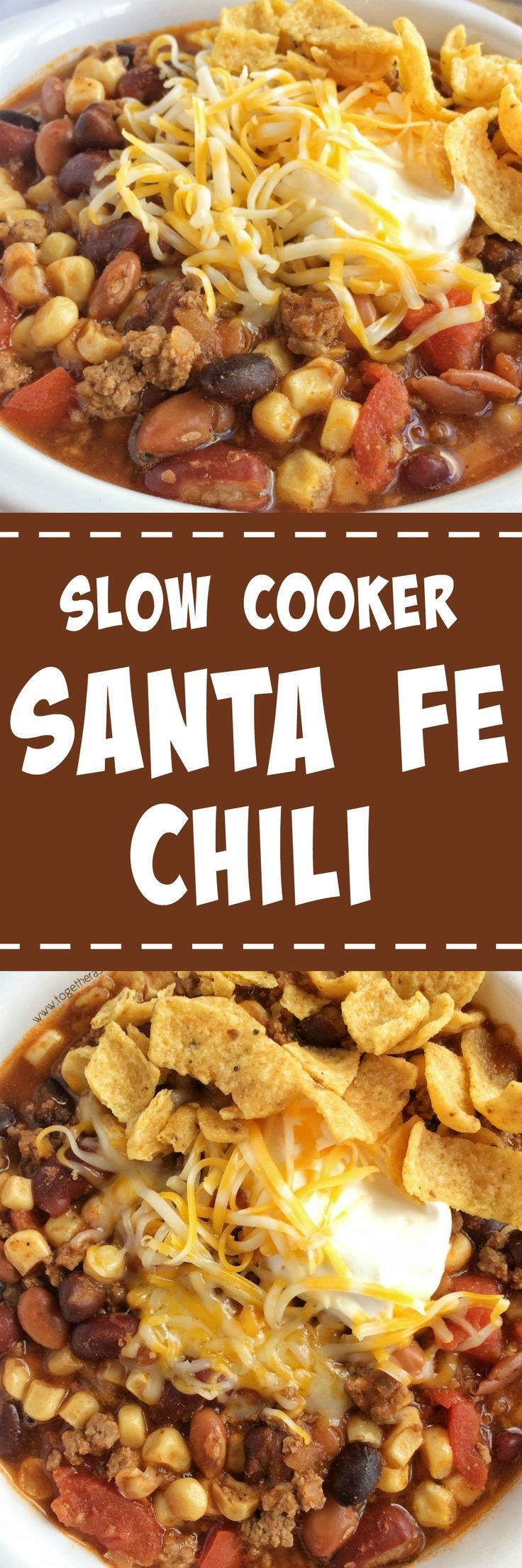 Santa fe chili is cooked in the slow cooker all day for ultra tender and flavorful chili. Brown some ground beef & onion, and add some cans into the crock pot. That's it! Serve with sour cream, shredded cheese, and fritos chips for the ultimate chili dinn