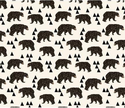 Bears Fabric - Geo Bear / Cream Woodland Kids Nursery Baby Trendy By Andrea Lauren - Bears Fabric Cotton Fabric by the yard with Spoonflower