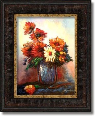 tablouri picturi in ulei flori crizanteme rosii 074