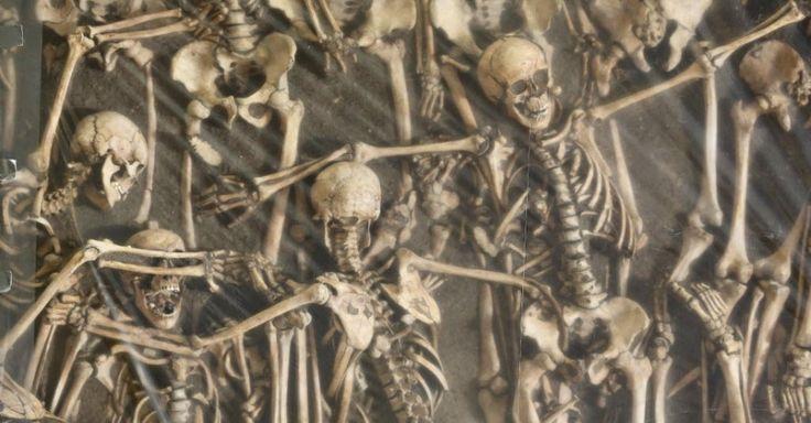 """Esqueletos de soldados mortos na batalha de Lutzen (1632), são fotografados em uma vala comum no museu de Halle/ Saale, na Alemanha. Restos mortais de 47 soldados encontrados em uma vala comum serão exibido em uma exposição chamada """"Uma busca arqueológica"""", que estará aberta ao público de 6 de novembro de 2015 a 22 de maio de 2016. A batalha de Lutzen aconteceu durante a Guerra dos Trinta Anos: conflito entre católicos e protestantes marcou Europa de 1618 a 1648"""