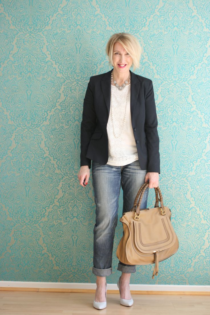 A fashion blog for women over 40 and mature women http://glamupyourlifestyle.blogspot.de/  Blazer: Zara Top: H+M Jeans: Fornarina Bag: Chloé Marcie Shoes: Pura Lopez