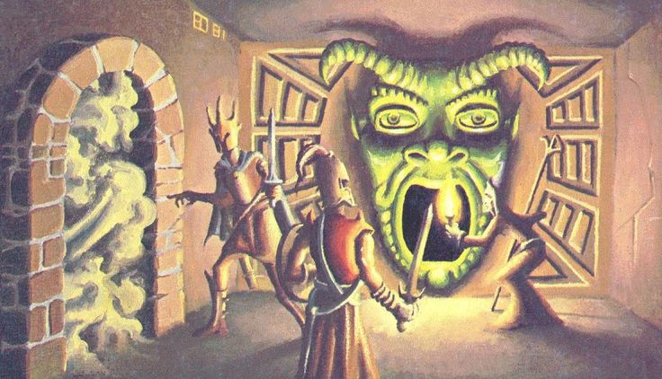 The infamous 'Green Devils' mouth' from the 1978 (?) Advanced Dungeons and Dragons module 'Tomb of Horrors. I know it was made for one of the Gen Con's. An archway of swirling mist, of an unknown substance, or through the Devils' mouth....which do you pick? Painting done by a true gifted and wonderful Artist, Mr.Erol Otus.