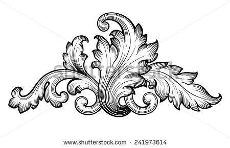 Vintage baroque frame scroll ornament engraving border floral retro pattern antique style foliage swirl decorative design element filigree calligraphy vector