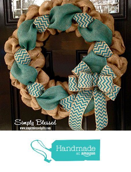 Teal Chevron Burlap Wreath 22 inch front door or accent - outdoor / indoor - Turquoise from Simply Blessed Gifts