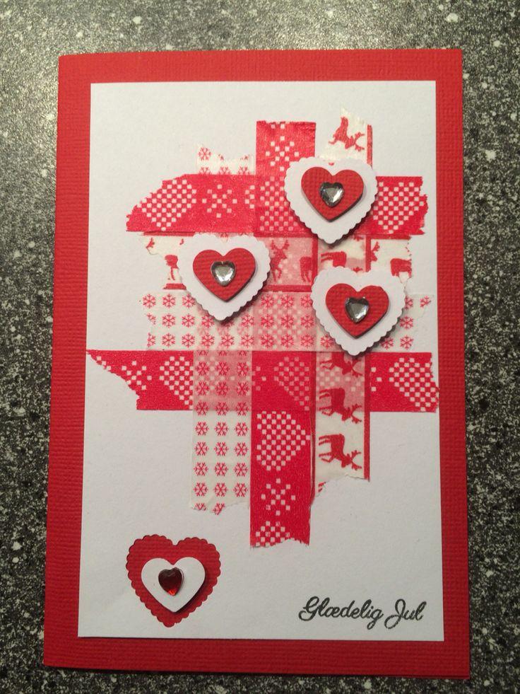Julekort / Christmas card Hjerter / hearts Washi tape