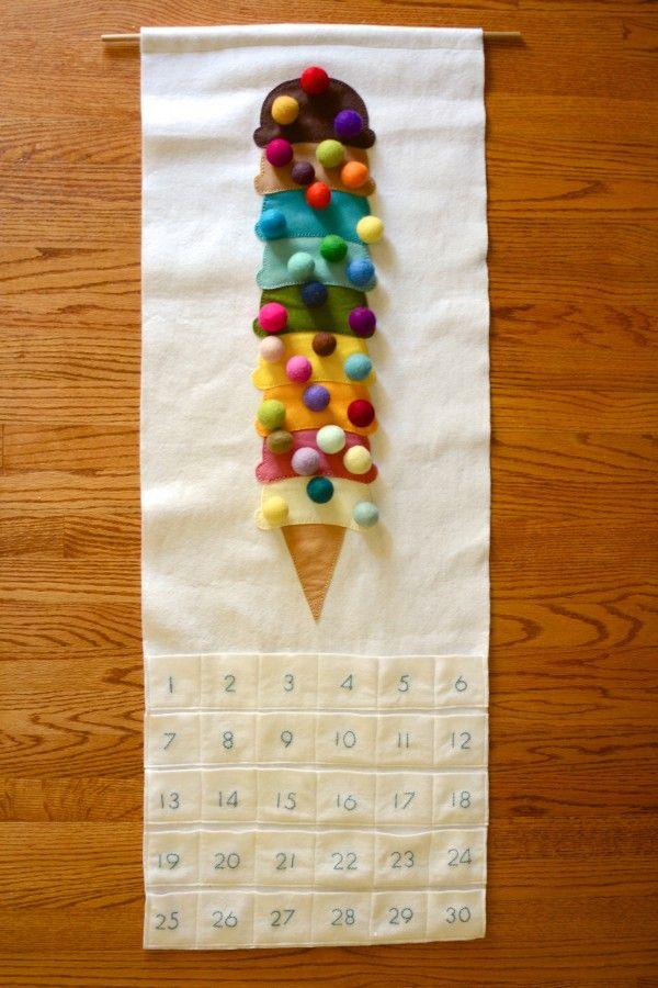 Birthday Countdown calendar - Felt Pattern - Happy Birthday - Cherry On Top