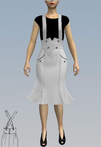 Retro Fishtail Suspender Skirt by Amber Middaugh 2015