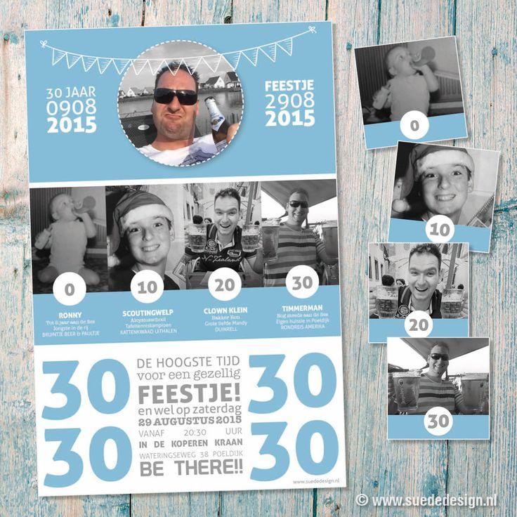 #uitnodiging 30 jaar! Origineel met foto's van elke 10 jaar. Met bijpassende #bierviltjes voor op het feest! #suededesign