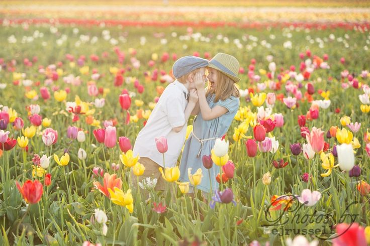 Each year, Beth Russell photographs her children in these gorgeous tulip fields.  ...