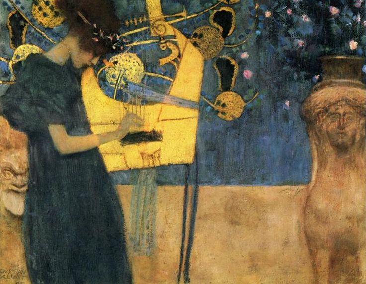 Music, 1895. Oil on canvas, 37cm × 44.5cm. Klimt. Allegoric representation of Music, which Klimt painted several times in various renderings. Besides the lyre, symbol of music, this particular canvas emphasises the sphinx (alluding to artistic freedom), the Silenus mask on the extreme left, the lion's teeth at the centre (a metaphor of the spread of new ideas) and finally the woman's meditative face.