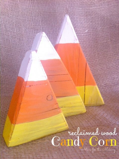 using old worn wood to make decor is so fun check out these reclaimed wood candy corn such a fun halloween project - Candy Corn Halloween Decorations