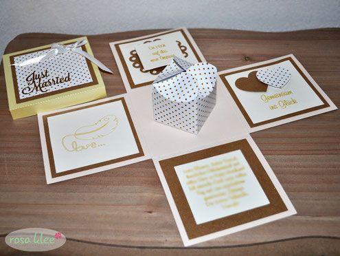 Explosionsbox   Geldgeschenk   Hochzeit   Hochzeitsgeschenk   rosa klee