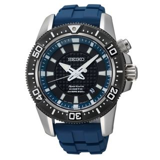 Seiko Men's Sportura Kinetic Grey and Blue Diver's Watch