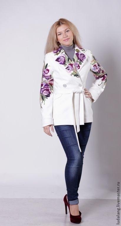 """Купить Куртка """"Неповторимая"""" - белый, цветочный, БЕЛОЕ ПАЛЬТО, валяная куртка, Теплый жакет"""