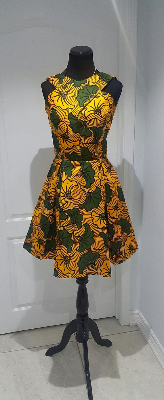 Box pleated dress in african print