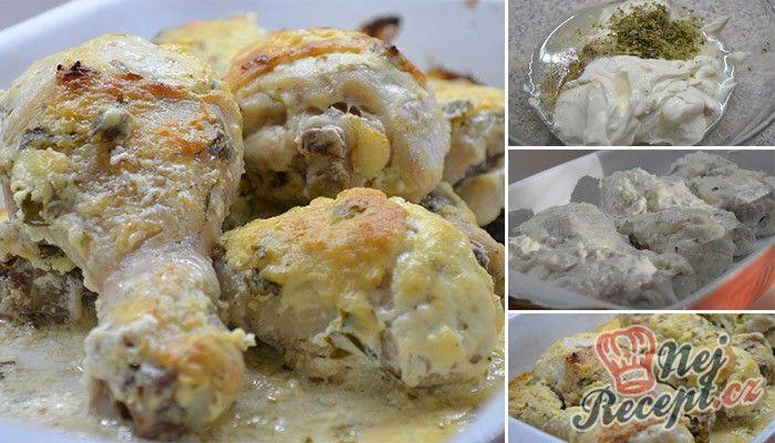 Vynikající tip na oběd. Pokud máte rádi šťavnatá kuřecí stehýnka, určitě si je připravte s marinádou ze zakysané smetany, česneku a bylinek. Jako přílohu jsem podávala klasickou rýži, ale můžete i bramborový salát. Byla to lahůdka. Autor: Lacusin