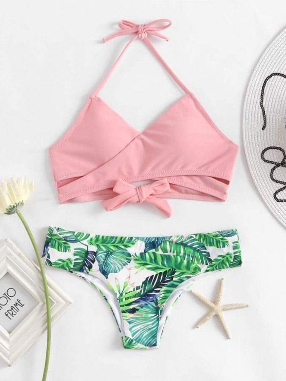Bikini con cinturini a fascia con stampa a palma Shein #bathingsuits #bathing #suits #tumblr