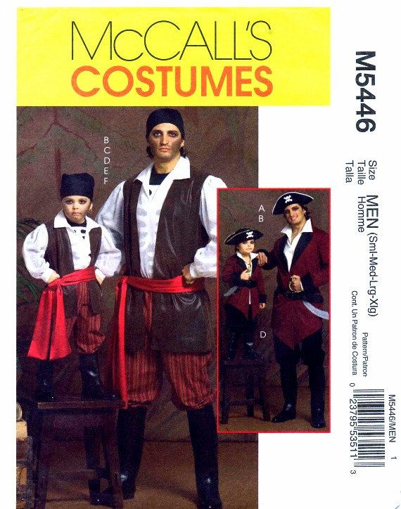 McCall's 5446 Mens Pirate Costumes Halloween Sewing Pattern Full Figure Chest 34 - 36 - 38 - 40 - 42 - 44 - 46 - 48 Uncut. $9.99, via Etsy.