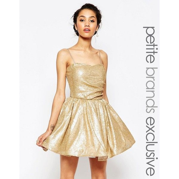 Maya Petite Sequin Prom Dress ($44) ❤ liked on Polyvore featuring dresses, gold, petite, sequin cocktail dresses, sweetheart neckline prom dress, white cocktail dresses, petite cocktail dress and mesh dresses