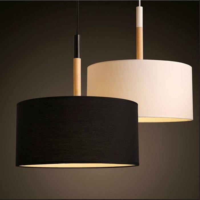 Современный из светодиодов подвесные светильники место для столовой черный белый абажур дерево промышленный подвесные светильники для кухни спальни Lighti