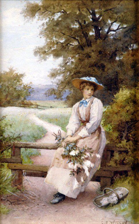 Girl with Wildflowers ~ Charles Edward Wilson ~ (English: 1854-1941)