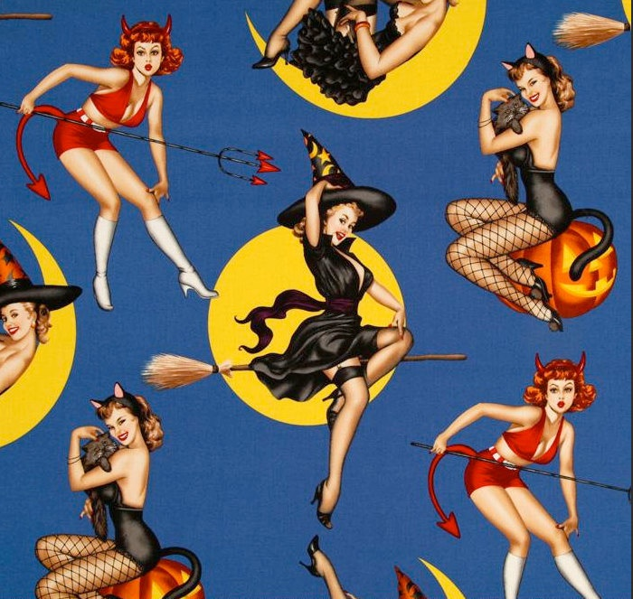 Alexander Henry Bewitched Pinup Fabric Blue.