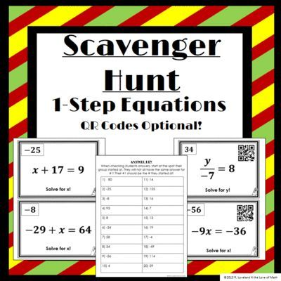 One Step Equation Scavenger Hunt **QR Codes Optional!** from 4 The Love of Math on TeachersNotebook.com -  (10 pages)  - Scavenger Hunt (QR Codes optional) on solving 1-step equations