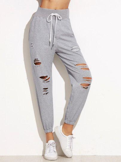 Pantalones con cordón y roturas - gris