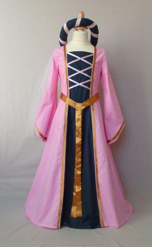 déguisement robe médiévale rose marine