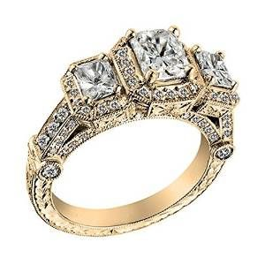 Yellow Gold Radiant and Round Three-Stone Diamond Engagement Ring - Unusual Engagement Rings Review