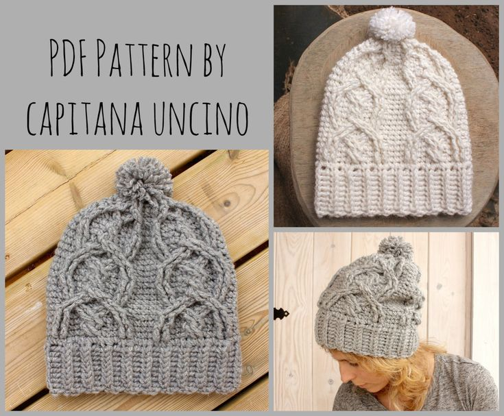 PDF Crochet  PATTERN for Alisha Cable Beanie, Slouchy, with Pompom by CapitanaUncino on Etsy