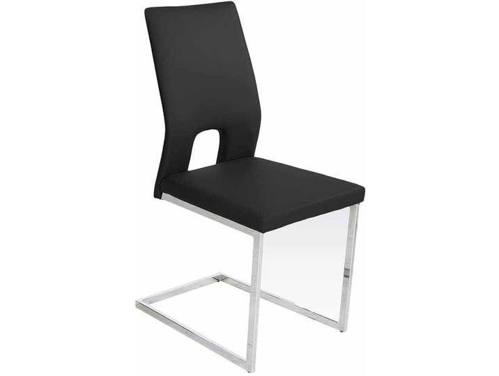 Freischwinger Schwingstuhl 2er Set Küchenstühle Essstühle Kunstleder grau