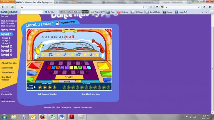 Dance mat typing free on line program learning all the time rea