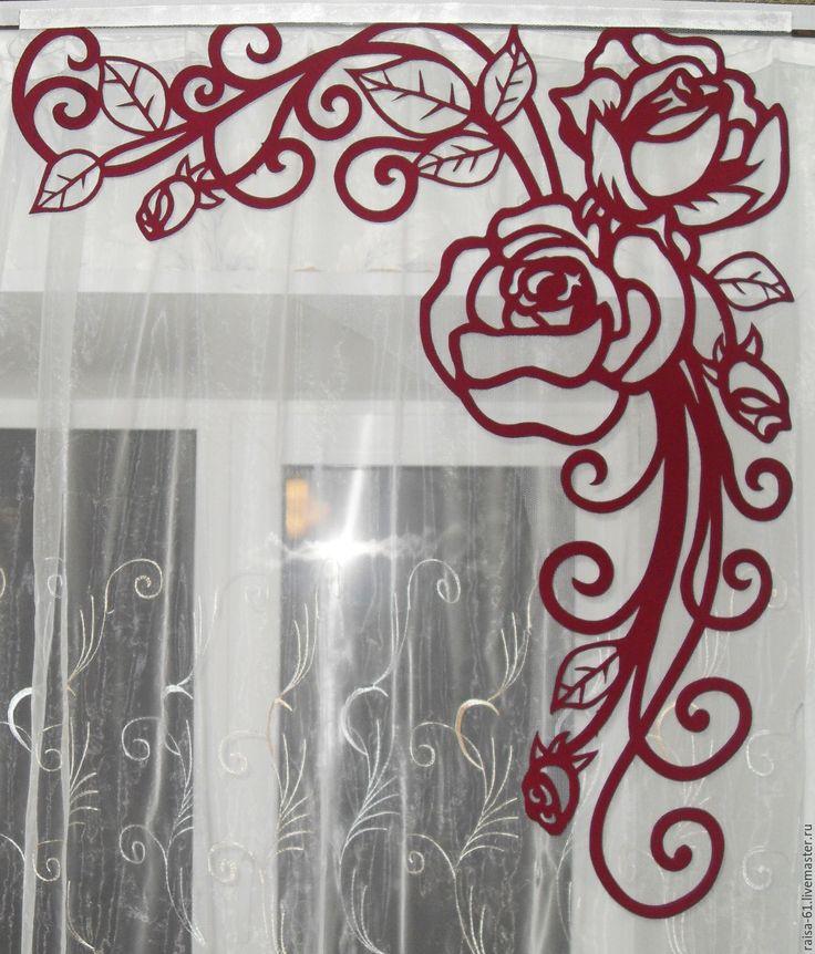 Купить Ажурный ламбрекен Роза - бордовый, терракотовый, роза, ламбрекен, ламбрекен с розами, ажурный ламбрекен