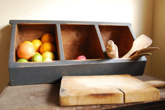 Storage- Kitchen Storage Boxes Primitive Rustic Country Chic 3 Bin/Black All Natural Food Safe Finish