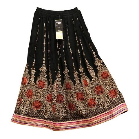 Skirt With Scroll Print & Embroidery - Free Size