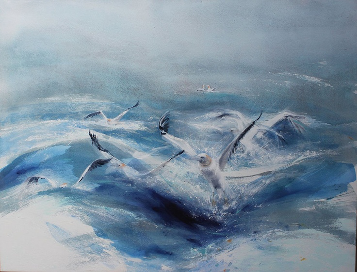 """Southern Ocean Gannets"" by Susan Sheridan. #AustralianArt #Art #CooksHillGalleries    To browse or buy premium Australian art visit: http://www.cookshillgalleries.com/Exhibitions/2013/nyc-18"