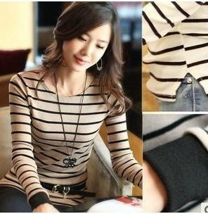 Free shipping! 2012 fashion Slim scoop neck stripe long sleeve polo shirt X20795540768-in Blouses & Shirts from Apparel & Accessories on Aliexpress.com